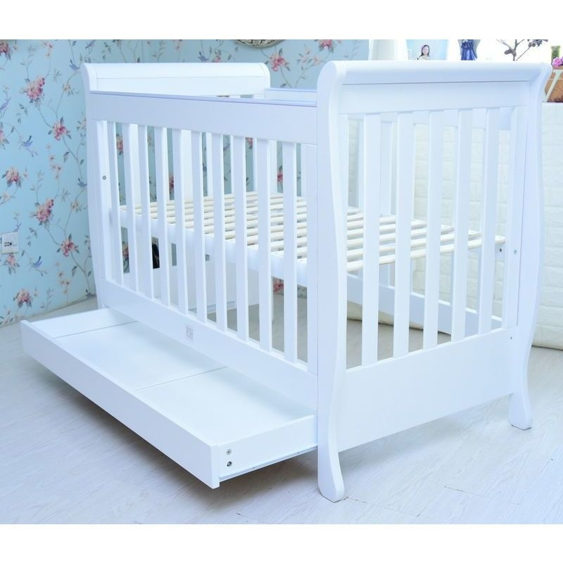 Sunshine Sleigh Baby Cot Bed W Toddler Rail White Buy