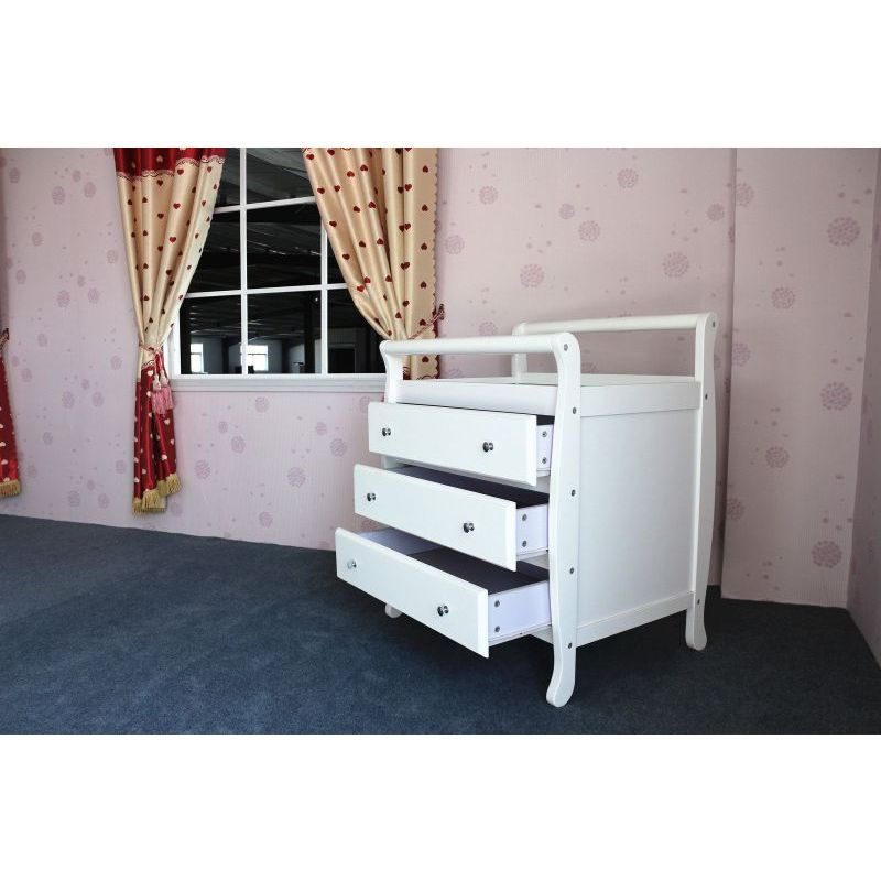 White Wooden Baby Change Table With 3 Drawers Buy