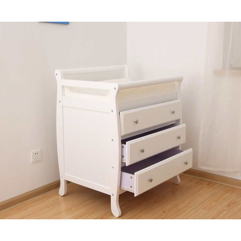 white wooden baby change table with 3 drawers buy changing tables 163052. Black Bedroom Furniture Sets. Home Design Ideas