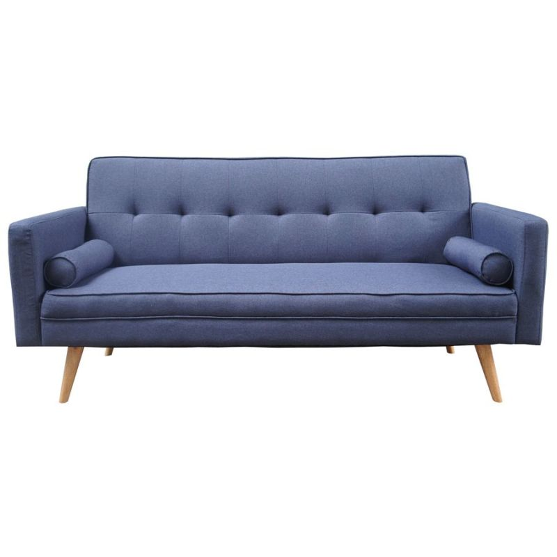 Harlan 3 seater fabric upholstered sofa bed in blue buy for Upholstered divan bed