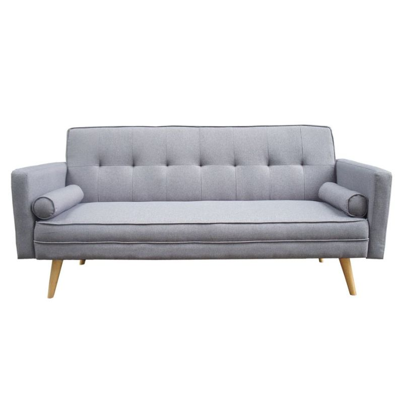 Harlan 3 seater fabric upholstered sofa bed in grey buy for Let out sofa bed