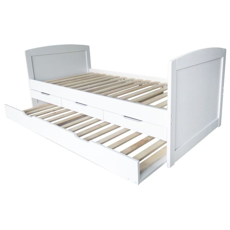 Details About White 3 Piece Storage Drawers Twin Bed Box: Varinia Single Pine Wood Trundle Bed Frame In White