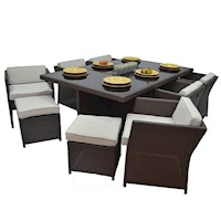 Luna 13 Piece Wicker Outdoor Dining Setting Brown