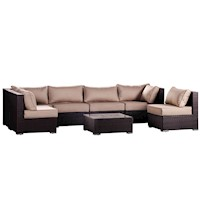 7 Piece Santosa Outdoor Lounge Setting in Brown