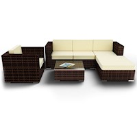 Tahiti 6 Piece PE Wicker Outdoor Sofa Setting Brown