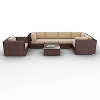 Ariana Outdoor Sofa Setting, 7 Piece, Brushed Brown