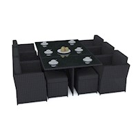 Saba 11 Piece Outdoor Wicker Dining Set in Black