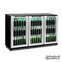 CyberCool 330L Under Bench Bar Fridge, Steel