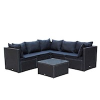 Miami 6 Piece Wicker Outdoor Sofa Setting in Black