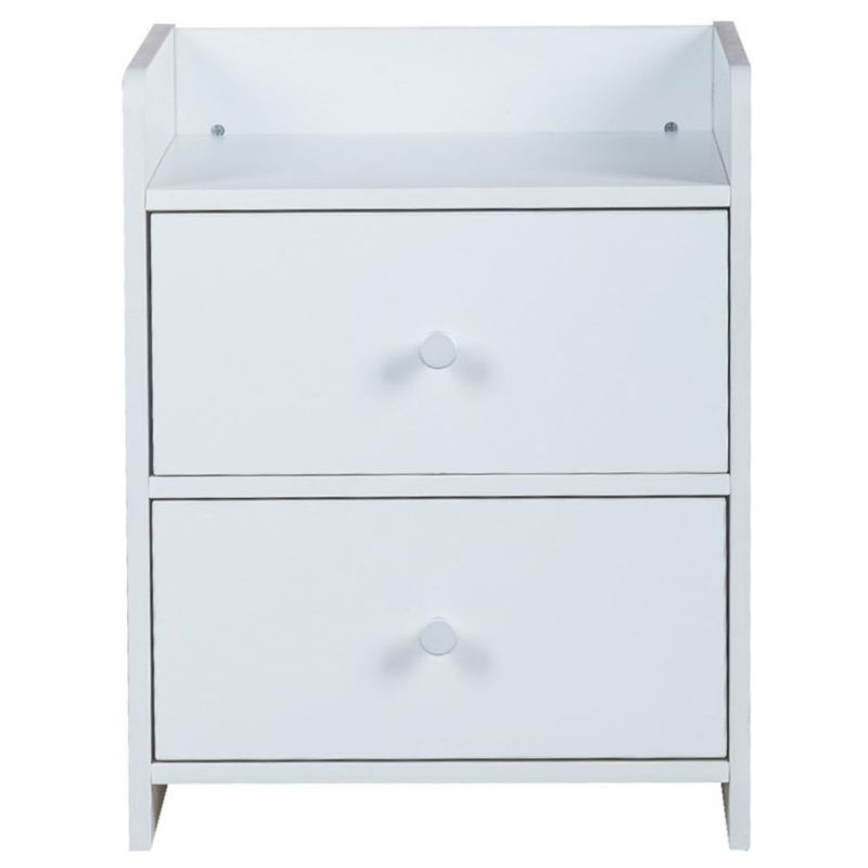 Eithne mdf bedside table with 2 drawers in white buy for Buy white bedside table