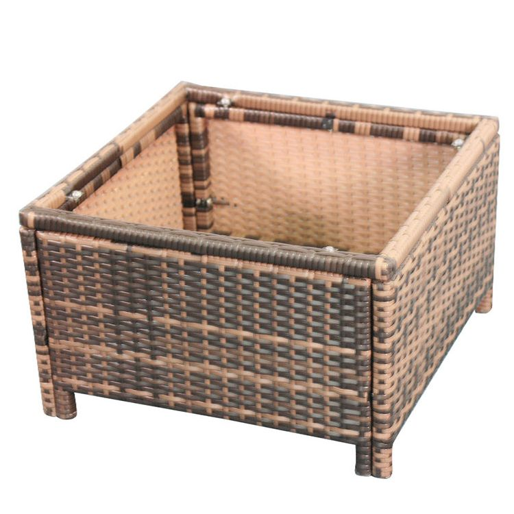 Brown Rattan Coffee Table Outdoor: Romano Outdoor Wicker Side Coffee Table In Brown
