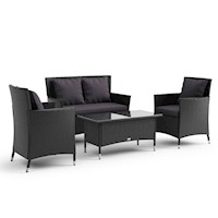 4 Piece Outdoor Wicker Coogee Furniture Set Black