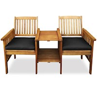 Norfolk Eucalyptus Twin Chair Outdoor Set -Black