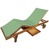 Luxo Acacia Timber Outdoor Sun Lounge Bed in Green