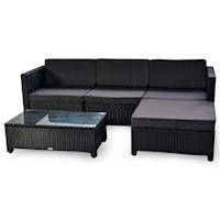 Milton Modular 4 Seat Outdoor Lounge Set Charcoal