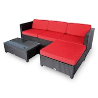 Milton Modular Outdoor Wicker Sofa Lounge Set Red