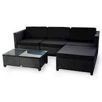 Milton Modular Wicker Outdoor Lounge Set in Black
