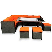Molokai Outdoor Lounge & Dining Set in Orange Grey