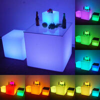 Outdoor Illuminated Glow LED Light Cube Chair 30cm