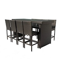 Riviera 9 Piece Wicker Outdoor Bar Setting in Black