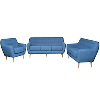 Lovenholm Scandinavian Couch Sofa Set for 6 in Cyan