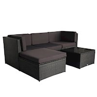 Muara 5 Piece Wicker Outdoor Lounge Set in Black