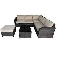 Nevin 7 Piece Wicker Outdoor Sofa Lounge Set Brown