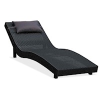 Kenston Wicker Outdoor Sun Lounge w Pillow in Black