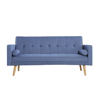 Harlan 3 Seater Fabric Upholstered Sofa Bed in Blue
