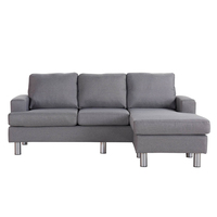Lambeth Reversible 3 Seat Chaise Lounge Sofa Grey