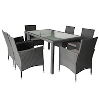 Monte 6 Seat Wicker Outdoor Dining Set in Grey