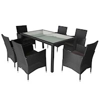 7pc Monte PE Wicker Outdoor Dining Set in Black