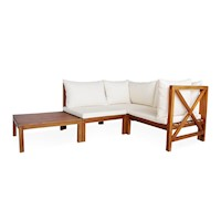 4pc Bala Acacia Wood Modular Outdoor Lounge Setting