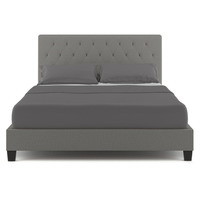 Helmi Queen Fabric Upholstered Bed Frame in Grey