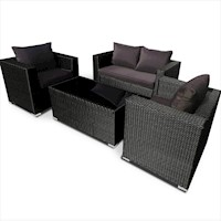 4pc Talise PE Wicker Outdoor Lounge Set in Black