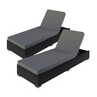 2x Boracay Adjustable PE Wicker Sun Lounge in Black