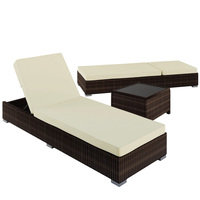 2x Boracay Wicker Sun Lounges w/ Romano Side Table