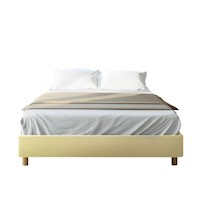 Froya King Faux Linen Ensemble Bed Base - Beige