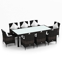 9pc Morocco Outdoor Wicker Dining Set Coffee Brown