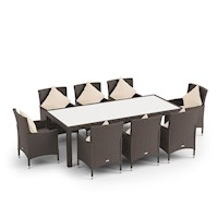 9pc Morocco Outdoor Wicker Dining Set Brushed Brown