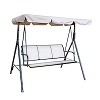 Hinta 3 Seat Outdoor Swing Chair w Canopy in Khaki