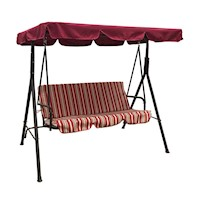 Jhoola 3 Seat Outdoor Swing Chair in Red w/ Stripes