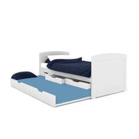 Varinia Single Pine Wood Trundle Bed Frame in White