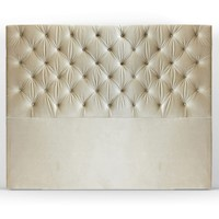 Leroy King Polyester Fabric Bed Headboard in Almond