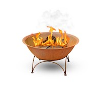Cast Iron Rusted Outdoor Fire Pit Bowl w Steel Base