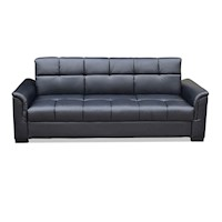 Luxo Lebron 3 Seater Faux Leather Sofa Bed in Black