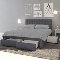 Martina Fabric Bed With Storage Drawers King Dark Grey Buy King