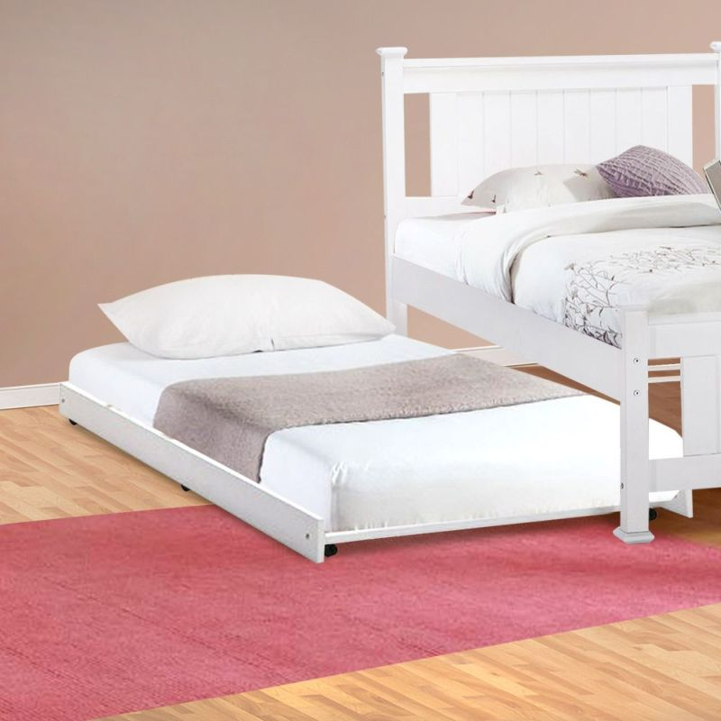 white trundle bed vita single size roll out trundle bed in white buy 13860