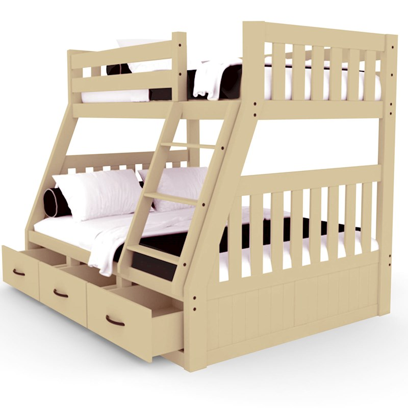 Cornelia Solid Pine Triple Bunk Bed With Storage - Natural | Buy ...