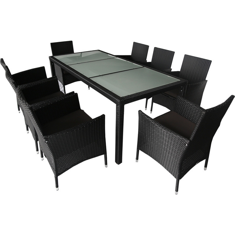 monte 8 seat outdoor pe wicker dining set in black buy 8 seat dining sets. Black Bedroom Furniture Sets. Home Design Ideas
